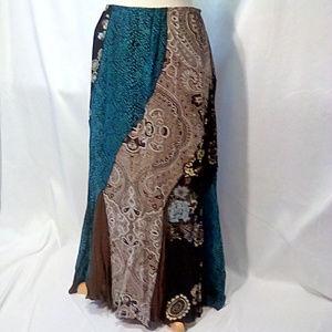 Stonebridge Size 14 patchwork panel maxi skirt